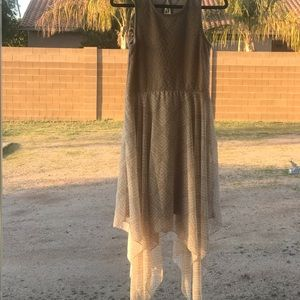 Almost famous tan handkerchief dress size 4